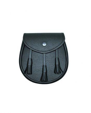 Leather sporting SPT1 sporran hand made in Scotland by Margaret Morrison Ltd