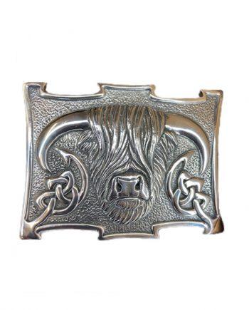 highland coo kilt belt buckle